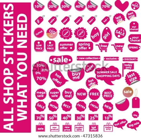 all pink shop stickers you need. vector - stock vector