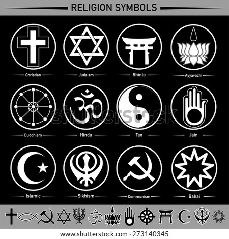 all religion in the signs and symbols - stock vector