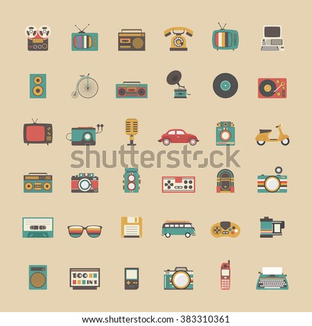 all retro icon set, music, vehicle, game and other technology,  pastel style - stock vector