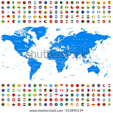 All flags world map vector collection vectores en stock 353101241 all round flags and world map vector collection of world flags and map gumiabroncs Image collections