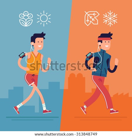 All seasons fitness run vector flat design | Young adult man running in summer or spring warm season and winter or fall cold season clothes outfit with music earphones and smart phone - stock vector