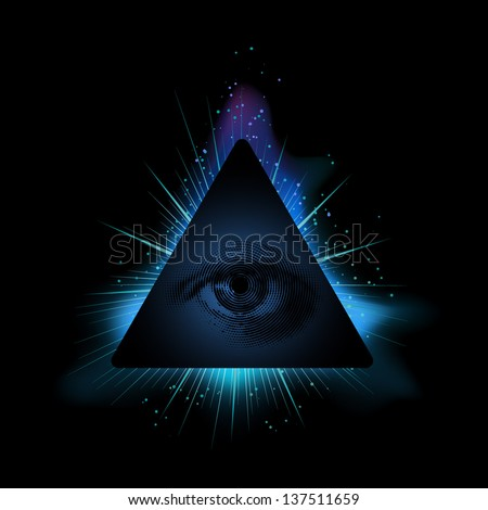 All seeing eye, eps10 vector - stock vector