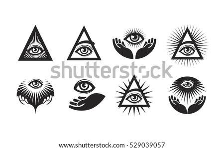 All Seeing Eye Icons Set Illuminati Stock Vector 529039057