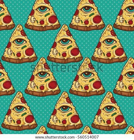 All Seeing Eye Illuminati Pizza Slice Seamless Pattern Wallpaper Background