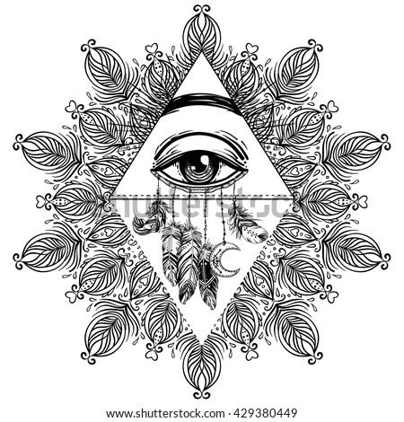 Blackwork Tattoo Flash All Seeing Eye Stock Vector
