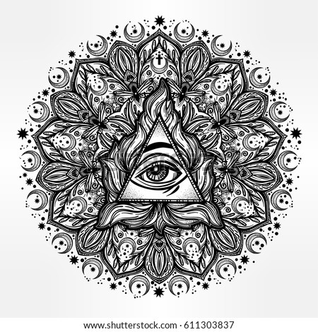 All Seeing Eye In Ornate Round Mandala Pattern Mystic Alchemy Occult Concept