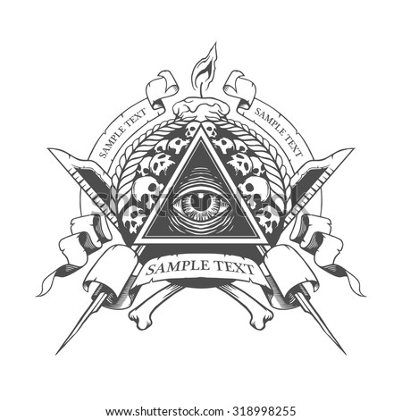 All seeing eye. Mystic occult esoteric. - stock vector