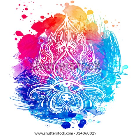 All seeing eye ornate composition. Hand drawn vintage style design element. Alchemy, spirituality, occultism, textiles art. Vector illustration for t-shirt print over colorful watercolor background. - stock vector