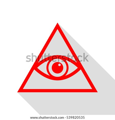 All seeing eye pyramid symbol. Freemason and spiritual. Red icon with flat style shadow path.