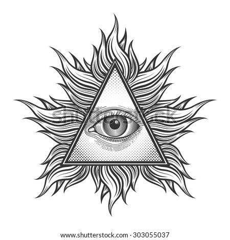 All Seeing Eye Pyramid Symbol Engraving Stock Vector
