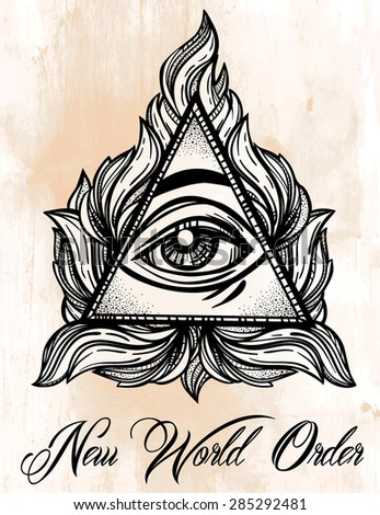 All seeing eye pyramid symbol. New World Order. Hand-drawn Eye of Providence. Alchemy, religion, spirituality, occultism, tattoo art. Isolated vector illustration. Conspiracy theory. - stock vector