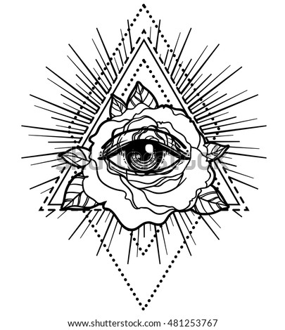 All Seeing Eye Pyramid Symbol Rose Stock Vector 481253767