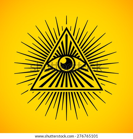 All seeing eye symbol on yellow background