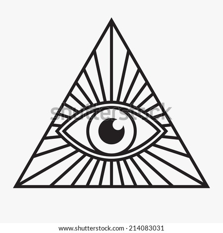 All seeing eye symbol, vector illustration - stock vector