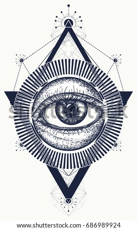 All seeing eye tattoo art vector. Freemason and spiritual symbols. Alchemy, medieval religion, occultism, spirituality and esoteric art t-shirt design