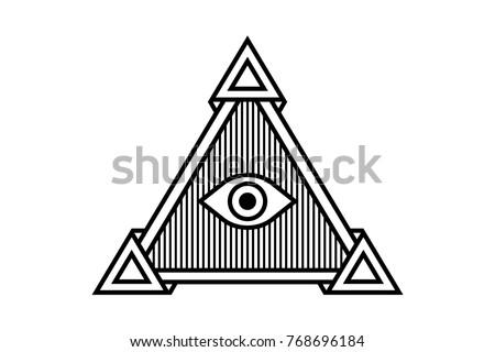 All Seeing Icon Illustration Symbol Illuminati Stock Vector