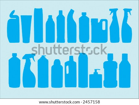 All sorts of plastic detergent bottles from the kitchen cupboard. - stock vector