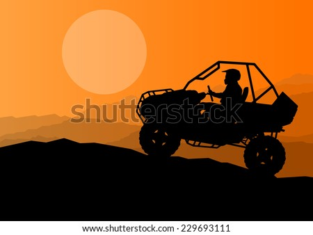 All terrain vehicle quad motorbike dune buggy rider in wild desert nature landscape background illustration vector - stock vector