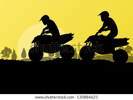 All terrain vehicle quad motorbike riders in countryside forest nature landscape background illustration vector - stock vector