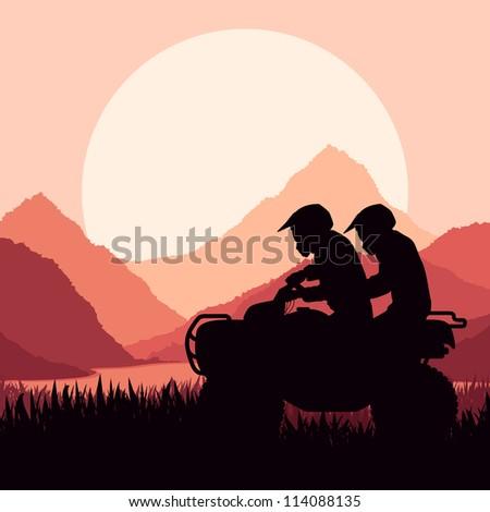 All terrain vehicle quad motorbike riders in wild nature landscape background illustration vector - stock vector