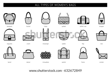 All Types Womens Bags Ranging Elegant Stock Vector 635181176 ...