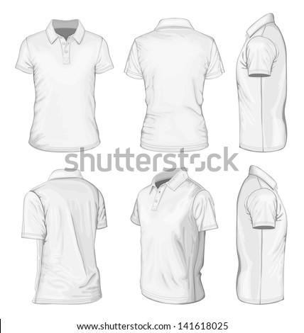 All views men's white short sleeve polo-shirt design templates (front, back, half-turned and side views). Vector illustration. No mesh. - stock vector