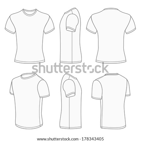 All views men's white short sleeve t-shirt design templates (front, back, half-turned and side views). Vector illustration. One white color and gray outline. Redact very easy! - stock vector