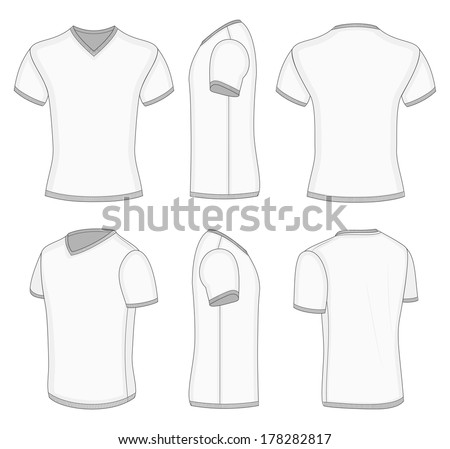 All Views Mens White Short Sleeve Stock Vector 178282817