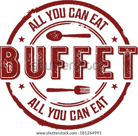All You Can Eat Buffet Vintage Sign - stock vector