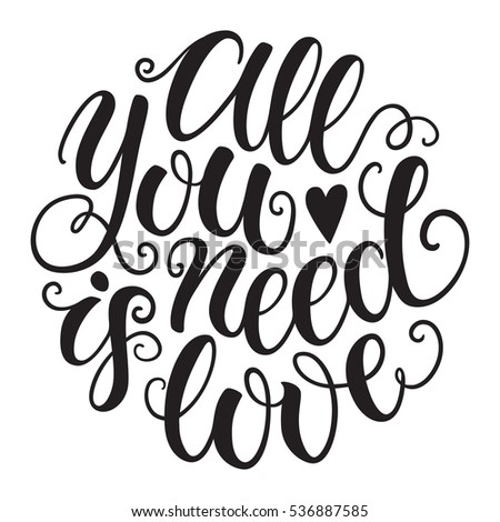 all you need is love doodle hand lettering romantic background greeting card design template