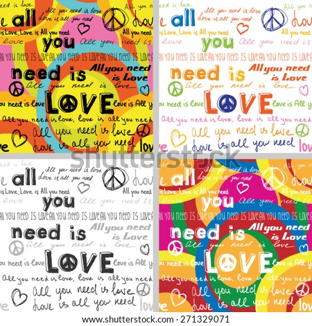 All You Need Is Love(Set of 4 Seamless Backgrounds with Hand Written Text)