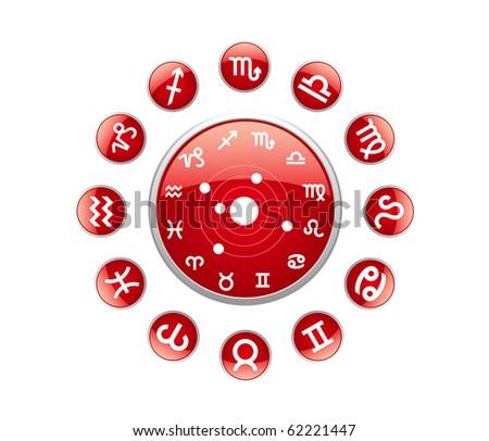 All zodiac red - stock vector
