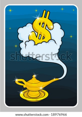 ALLADIN LAMP DOLLAR - stock vector