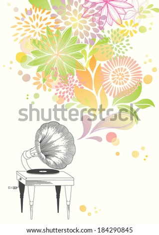 Allegory of gorgeous music which is played from the old gramophone - stock vector