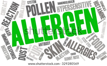 Allergen word cloud on a white background.  - stock vector