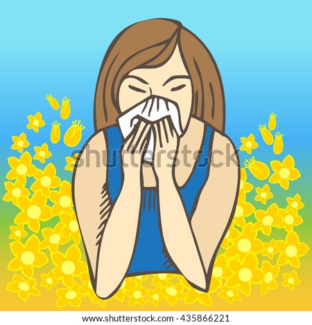 Allergies. Hay fever on blue background and yellow flowers - stock vector