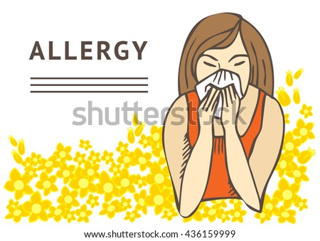 Allergies. Hay fever on white background and yellow flowers. Template - stock vector