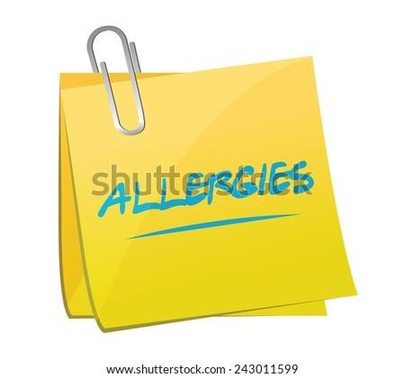 allergies post memo illustration design over a white background - stock vector