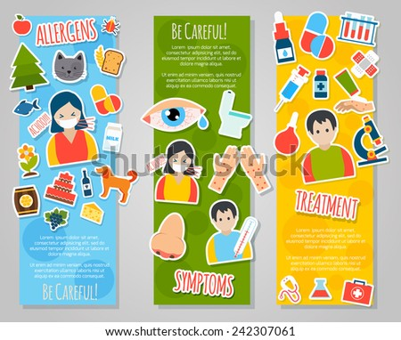 Allergies vertical banner set with allergen disease symptoms stickers isolated vector illustration - stock vector