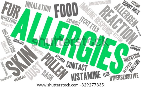 Allergies word cloud on a white background.  - stock vector