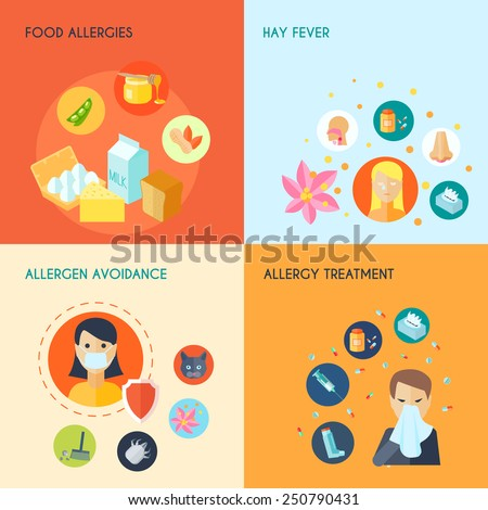Allergy design concept set with food hay fever allergen avoidance treatment icons set isolated vector illustration - stock vector