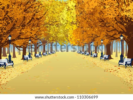 Alley in autumn park between the trees with lush foliage - stock vector
