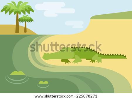 Alligator gator crocodile habitat flat design cartoon vector wild animals reptiles. Flat zoo nature children collection. - stock vector
