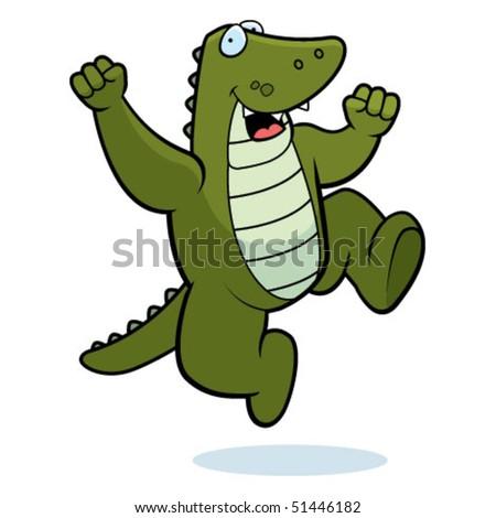 Alligator Jumping - stock vector