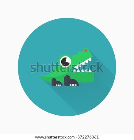 Alligator toy icon , Vector flat long shadow design. Children's toys concept. - stock vector