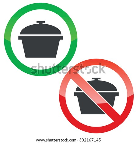 Allowed and forbidden signs with pot image, isolated on white - stock vector