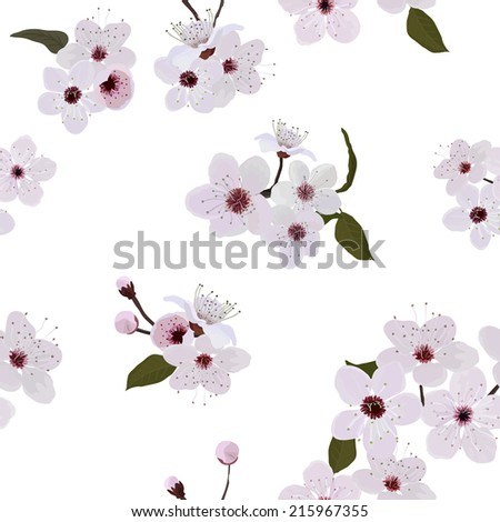 Almond flower pattern - stock vector