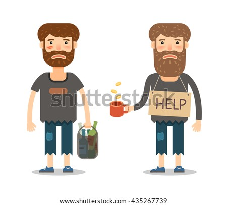 Alms for the poor. Homeless or street beggar. Unhappy man in filthy rags. A starving homeless man begging with a Cup in hand - stock vector