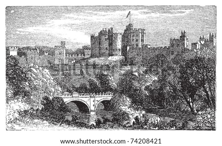 Alnwick Castle, in Alnwick, Northumberland County. 1890 vintage engraved illustration. Vector engraving, Location of various film, such as Harry Potter and Elizabeth. - stock vector
