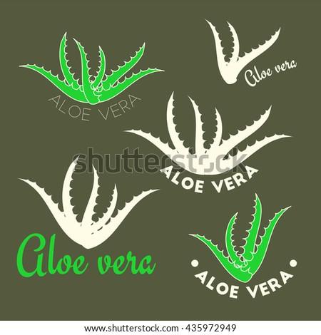 Aloe vera icons, vector beauty logotypes - stock vector
